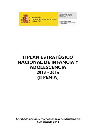 II PLAN ESTRATÉGICO NACIONAL DE INFANCIA Y ADOLESCENCIA 2013 - 2016