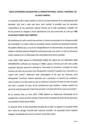 Pacte Autonòmic Valencià per a l'Atenció Integrada-Social i Sanitaria de la Salut Mental